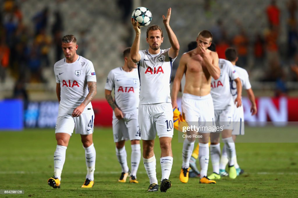 Harry Kane of Tottenham Hotspur celebrates victory with the match ball after the UEFA Champions League Group H match between Apoel Nicosia and Tottenham Hotspur at GSP Stadium on September 26, 2017 in Nicosia, Cyprus.