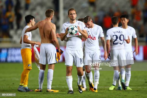 Harry Kane of Tottenham Hotspur celebrates victory with the match ball after the UEFA Champions League Group H match between Apoel Nicosia and...