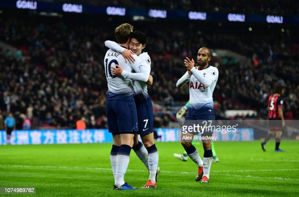 Harry Kane of Tottenham Hotspur celebrates with HeungMin Son of Tottenham Hotspur after he scores his sides 4th goal during the Premier League match...