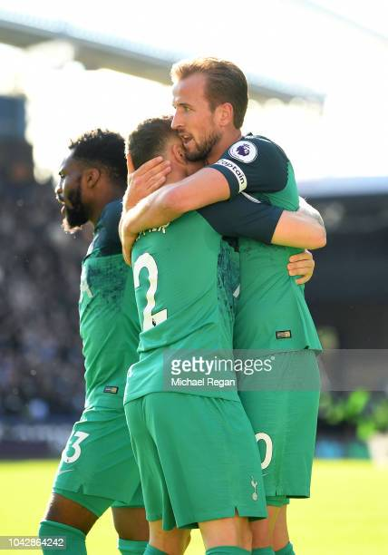 Harry Kane of Tottenham Hotspur celebrates with Kieran Trippier of Tottenham Hotspur after scoring the opening goal during the Premier League match...