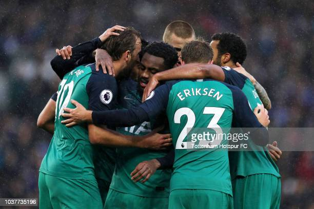 Harry Kane of Tottenham Hotspur celebrates with teammates after scoring his team's first goal during the Premier League match between Brighton Hove...