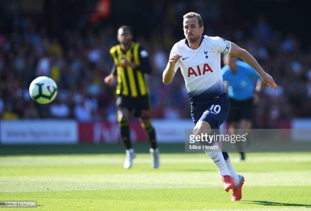 Harry Kane of Tottenham Hotspur chases the ball during the Premier League match between Watford FC and Tottenham Hotspur at Vicarage Road on...