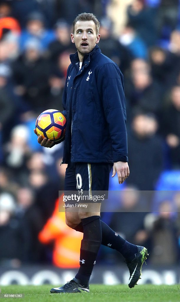 Harry Kane of Tottenham Hotspur collects the match ball after the Premier League match between Tottenham Hotspur and West Bromwich Albion at White Hart Lane on January 14, 2017 in London, England.