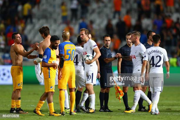 Harry Kane of Tottenham Hotspur collects the match ball after the UEFA Champions League Group H match between Apoel Nicosia and Tottenham Hotspur at...