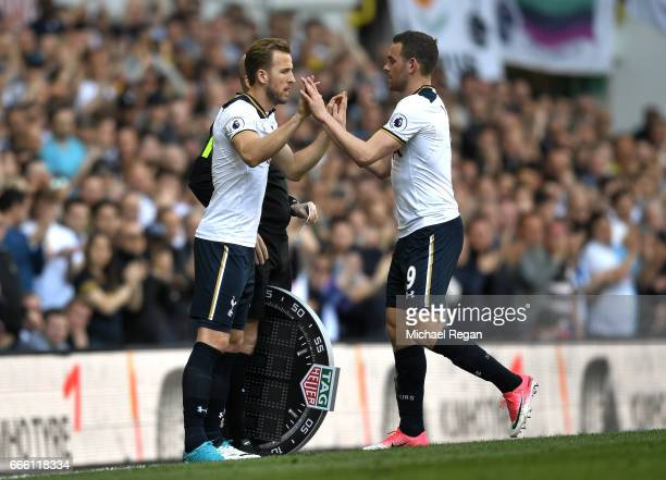 Harry Kane of Tottenham Hotspur comes on for Vincent Janssen of Tottenham Hotspur during the Premier League match between Tottenham Hotspur and...