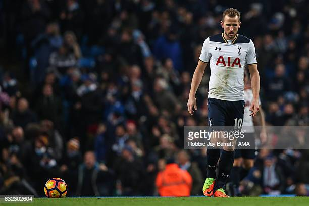Harry Kane of Tottenham Hotspur dejected after conceding a goal to make it 20 during the Premier League match between Manchester City and Tottenham...