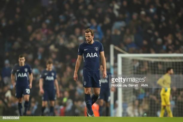 Harry Kane of Tottenham Hotspur dejected during the Premier League match between Manchester City and Tottenham Hotspur at Etihad Stadium on December...