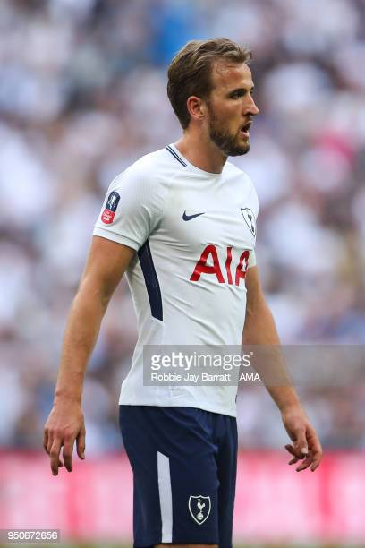 Harry Kane of Tottenham Hotspur during The Emirates FA Cup Semi Final match between Manchester United and Tottenham Hotspur at Wembley Stadium on...