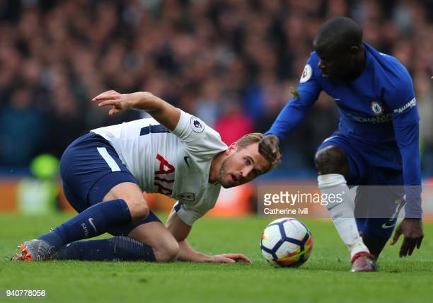 Harry Kane of Tottenham Hotspur during the Premier League match between Chelsea and Tottenham Hotspur at Stamford Bridge on April 1 2018 in London...