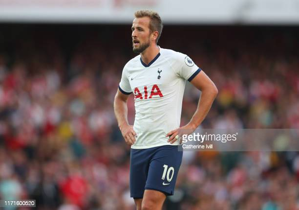 Harry Kane of Tottenham Hotspur during the Premier League match between Arsenal FC and Tottenham Hotspur at Emirates Stadium on September 01 2019 in...