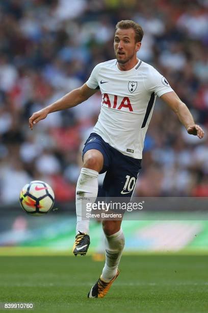 Harry Kane of Tottenham Hotspur during the Premier League match between Tottenham Hotspur and Burnley at Wembley Stadium on August 27 2017 in London...