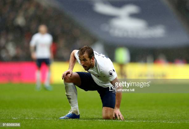 Harry Kane of Tottenham Hotspur during the Premier League match between Tottenham Hotspur and Arsenal at Wembley Stadium on February 10 2018 in...