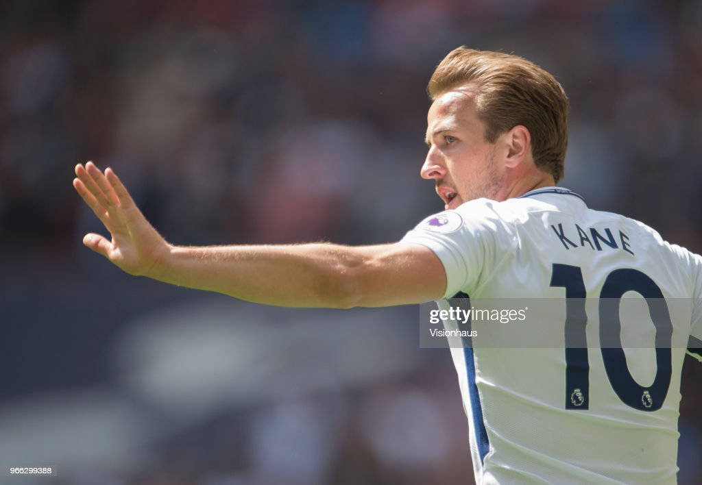 Harry Kane of Tottenham Hotspur during the Premier League match between Tottenham Hotspur and Leicester City at Wembley Stadium on May 13th, 2018 in London, England.