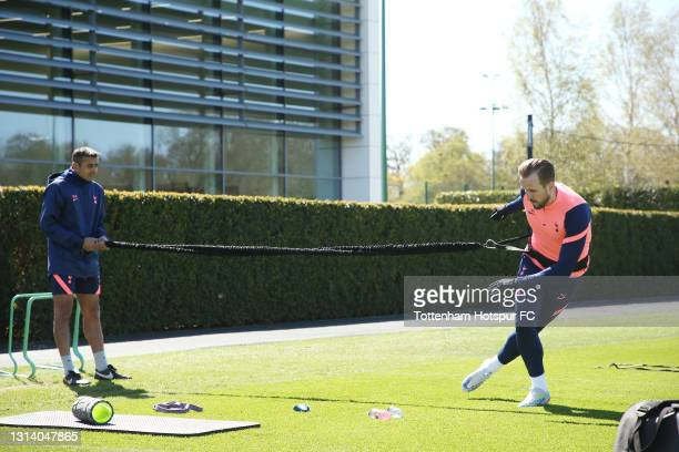 Harry Kane of Tottenham Hotspur during the Tottenham Hotspur training session at Tottenham Hotspur Training Centre on April 23, 2021 in Enfield,...