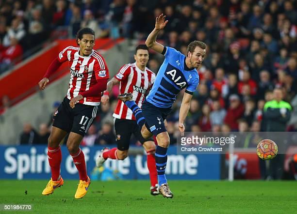 Harry Kane of Tottenham Hotspur evades Virgil van Dijk of Southampton to score their first goal during the Barclays Premier League match between...