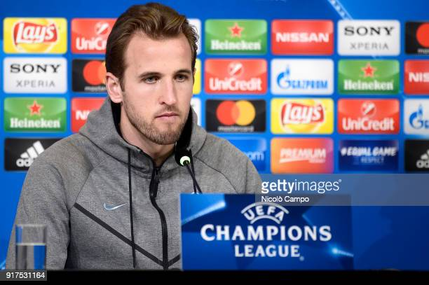 Harry Kane of Tottenham Hotspur FC speaks during a Tottenham Hotspur FC press conference on the eve of the UEFA Champions League football match...
