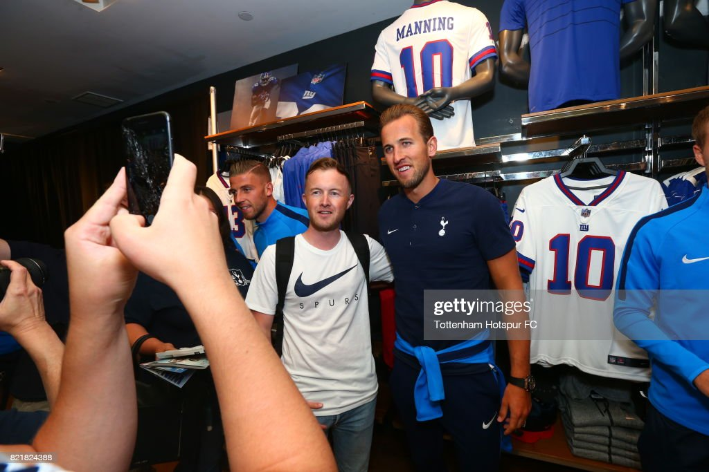 Harry Kane of Tottenham Hotspur FC poses with fans on a visit to Nike Town on Tottenham Hotspur Pre-Season Tour to the US on July 23, 2017 in New York, New York.