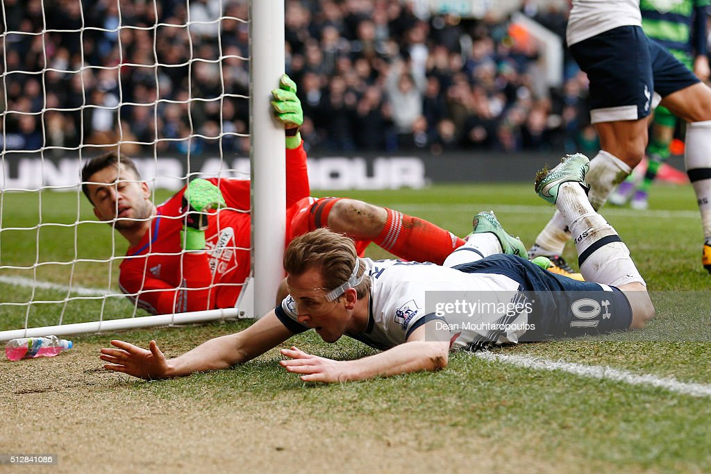 Harry Kane of Tottenham Hotspur goes to ground after failing to score during the Barclays Premier League match between Tottenham Hotspur and Swansea City at White Hart Lane on February 28, 2016 in London, England.