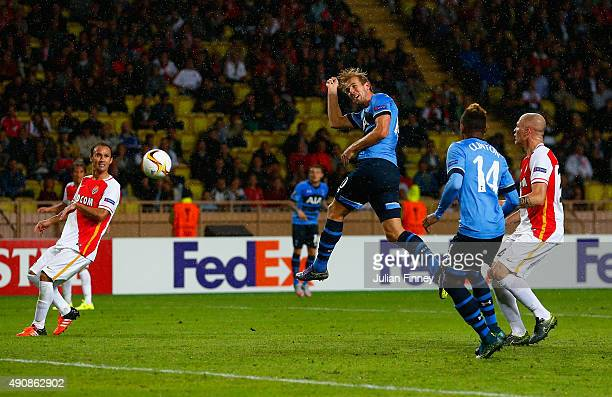 Harry Kane of Tottenham Hotspur heads at goal during the UEFA Europa League group J match between AS Monaco FC and Tottenham Hotspur FC at Stade...