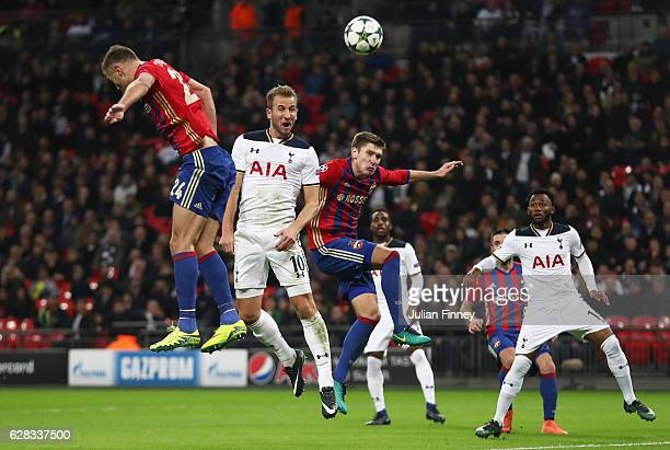 Harry Kane of Tottenham Hotspur heads towads goal during the UEFA Champions League Group E match between Tottenham Hotspur FC and PFC CSKA Moskva at...
