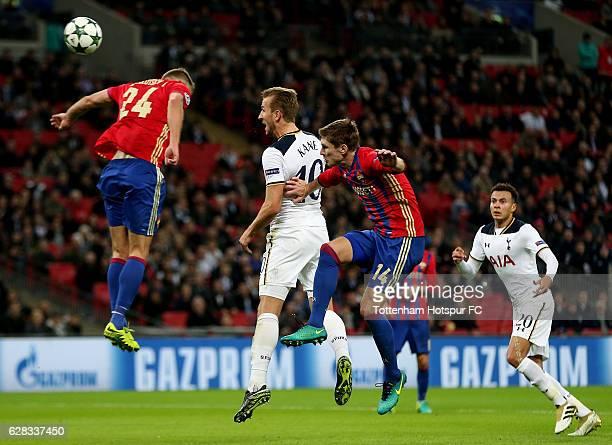 Harry Kane of Tottenham Hotspur heads towards goal during the UEFA Champions League Group E match between Tottenham Hotspur FC and PFC CSKA Moskva at...