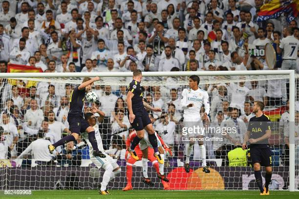 Harry Kane of Tottenham Hotspur heads towards goal during the UEFA Champions League group H match between Real Madrid and Tottenham Hotspur at...