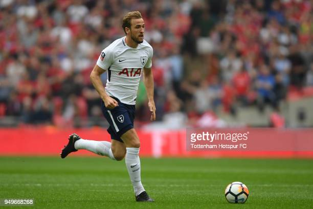 Harry Kane of Tottenham Hotspur in action during The Emirates FA Cup Semi Final between Manchester United and Tottenham Hotspur at Wembley Stadium on...