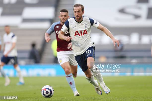 Harry Kane of Tottenham Hotspur in action during the Premier League match between Tottenham Hotspur and Aston Villa at Tottenham Hotspur Stadium on...