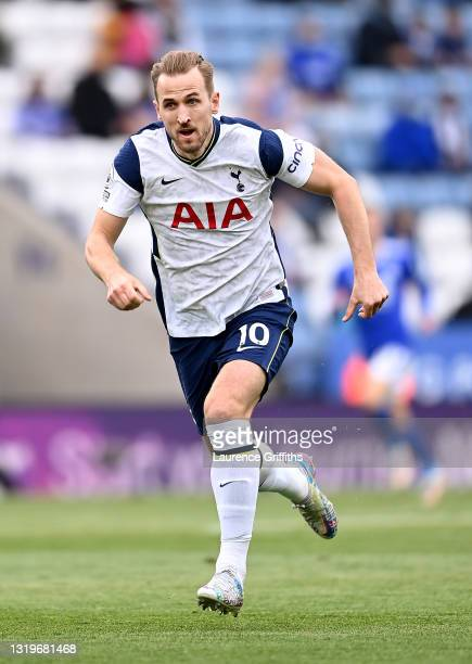Harry Kane of Tottenham Hotspur in action during the Premier League match between Leicester City and Tottenham Hotspur at The King Power Stadium on...
