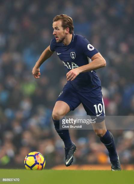 Harry Kane of Tottenham Hotspur in action during the Premier League match between Manchester City and Tottenham Hotspur at Etihad Stadium on December...