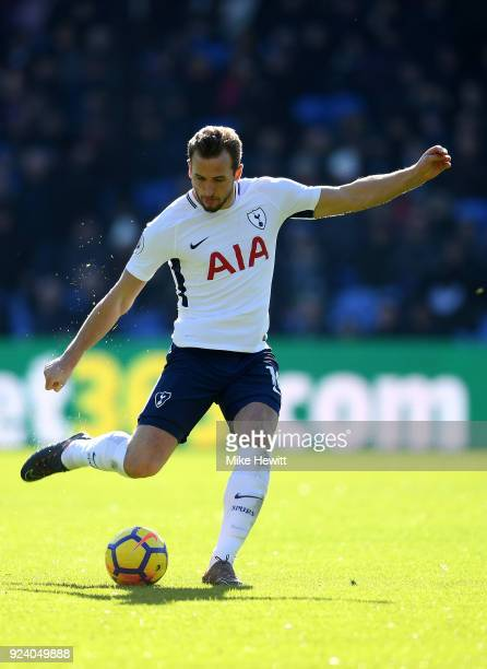Harry Kane of Tottenham Hotspur in action during the Premier League match between Crystal Palace and Tottenham Hotspur at Selhurst Park on February...