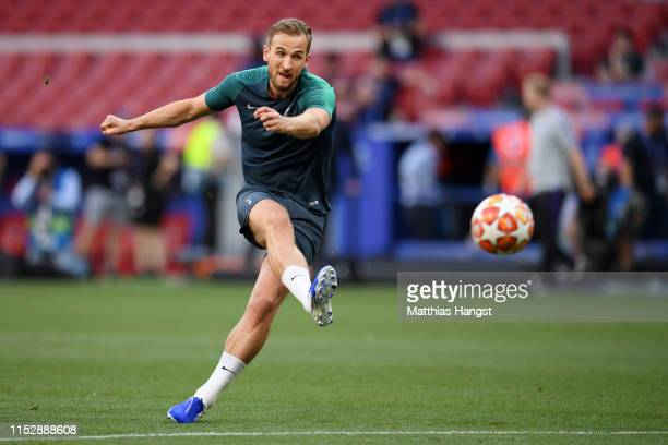 Harry Kane of Tottenham Hotspur in action during the Tottenham Hotspur training session on the eve of the UEFA Champions League Final against...