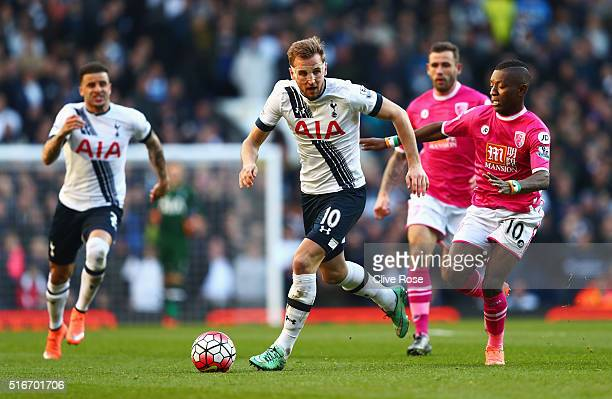 Harry Kane of Tottenham Hotspur is chased by Max Gradel of Bournemouth during the Barclays Premier League match between Tottenham Hotspur and AFC...