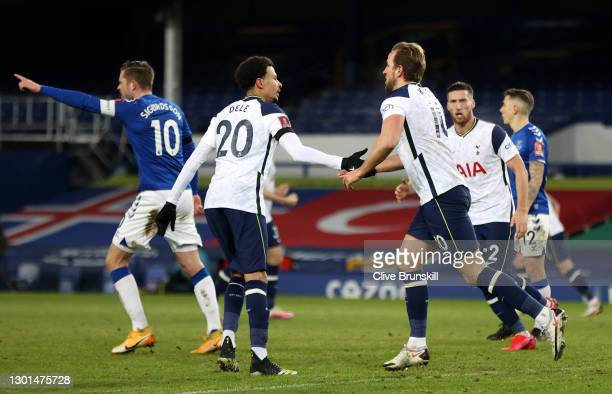 Harry Kane of Tottenham Hotspur is congratulated by team mate Dele Alli after scoring their side's fourth goal during The Emirates FA Cup Fifth Round...
