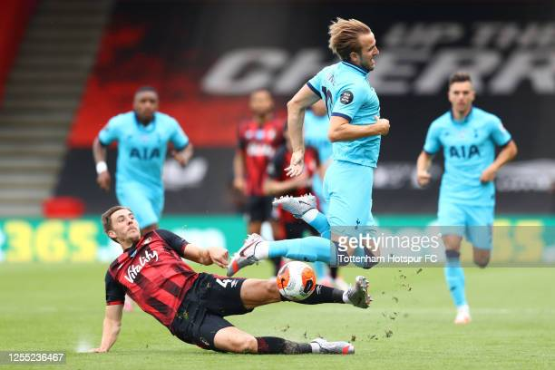 Harry Kane of Tottenham Hotspur is fouled by Dan Gosling of AFC Bournemouth during the Premier League match between AFC Bournemouth and Tottenham...