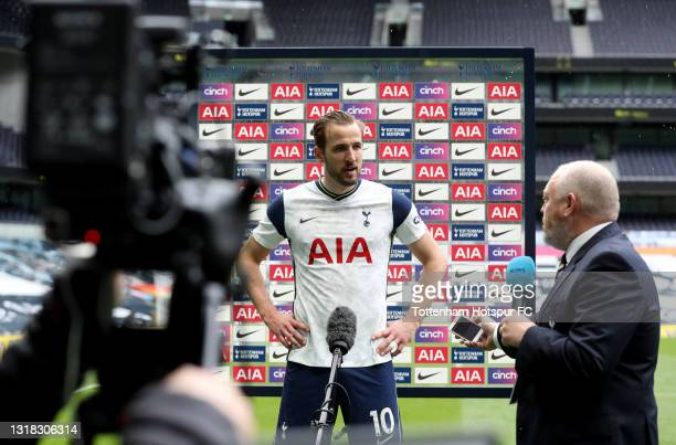 Harry Kane of Tottenham Hotspur is interviewed following the Premier League match between Tottenham Hotspur and Wolverhampton Wanderers at Tottenham...