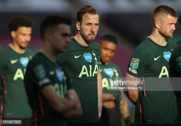 Harry Kane of Tottenham Hotspur looks dejected after during the Carabao Cup Final between Manchester City and Tottenham Hotspur at Wembley Stadium on...