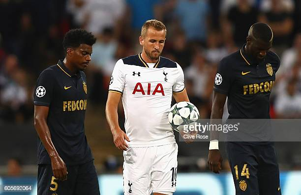 Harry Kane of Tottenham Hotspur looks dejected after his side concedes their first goal during the UEFA Champions League match between Tottenham...