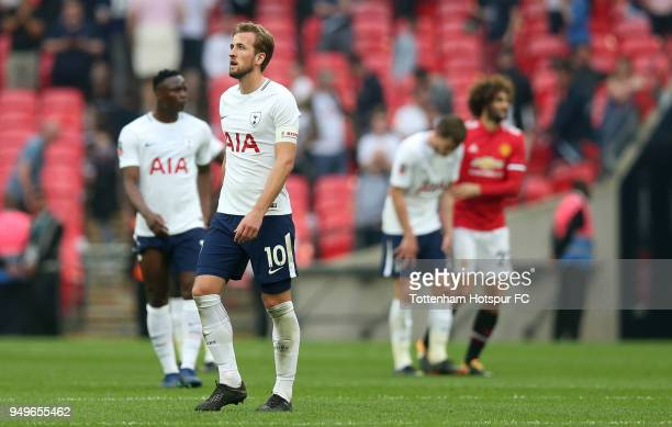 Harry Kane of Tottenham Hotspur looks dejected after The Emirates FA Cup Semi Final match between Manchester United and Tottenham Hotspur at Wembley...