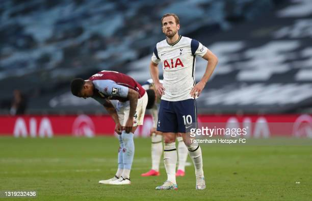 Harry Kane of Tottenham Hotspur looks dejected after the final whistle during the Premier League match between Tottenham Hotspur and Aston Villa at...