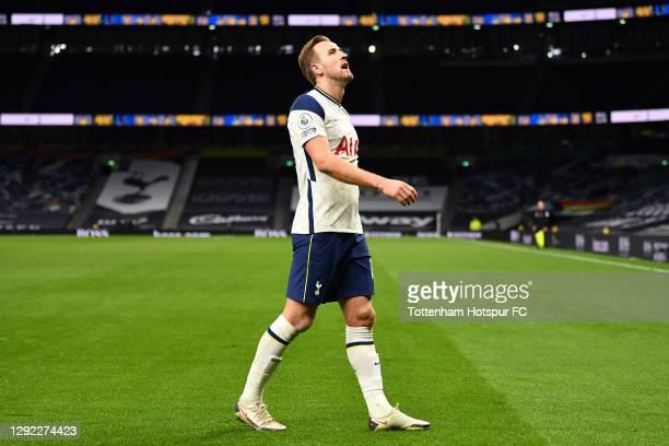 Harry Kane of Tottenham Hotspur looks dejected during the Premier League match between Tottenham Hotspur and Leicester City at Tottenham Hotspur...