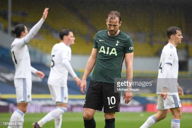 Harry Kane of Tottenham Hotspur looks dejected during the Premier League match between Leeds United and Tottenham Hotspur at Elland Road on May 08,...