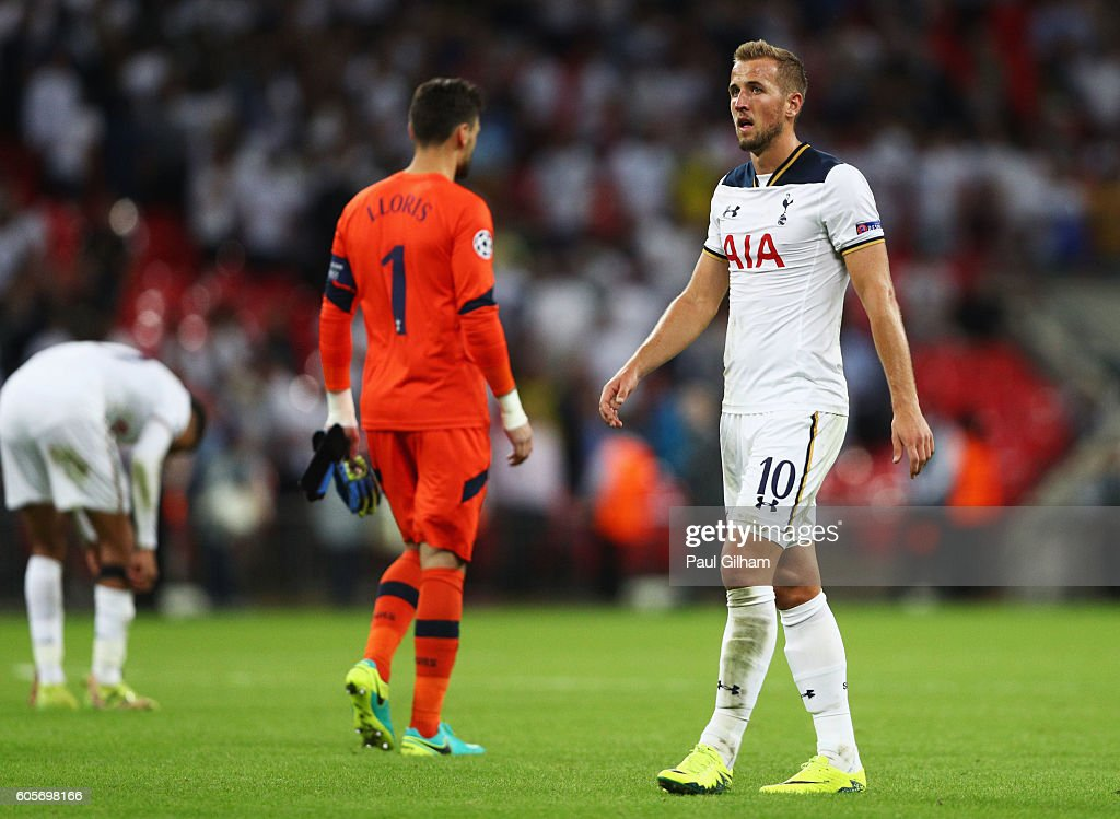 Harry Kane of Tottenham Hotspur looks dejected during the UEFA Champions League match between Tottenham Hotspur FC and AS Monaco FC at Wembley Stadium on September 14, 2016 in London, England.