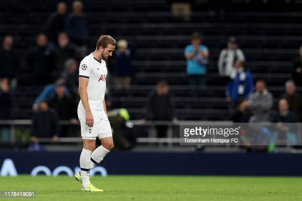 Harry Kane of Tottenham Hotspur looks dejected following his sides defeat in the UEFA Champions League group B match between Tottenham Hotspur and...