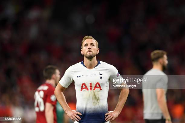 Harry Kane of Tottenham Hotspur looks dejected following the UEFA Champions League Final between Tottenham Hotspur and Liverpool at Estadio Wanda...