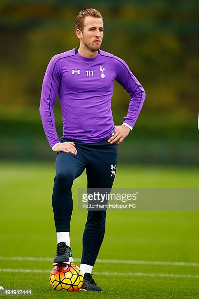 Harry Kane of Tottenham Hotspur looks on during a training session on October 30 2015 in Enfield England