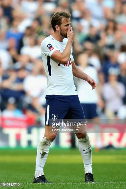 Harry Kane of Tottenham Hotspur looks on during The Emirates FA Cup Semi Final match between Manchester United and Tottenham Hotspur at Wembley...