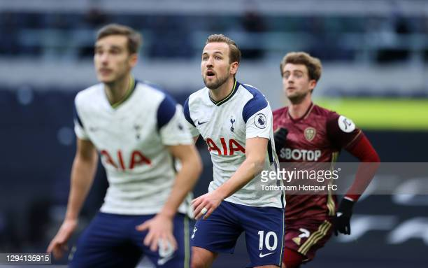 Harry Kane of Tottenham Hotspur looks on during the Premier League match between Tottenham Hotspur and Leeds United at Tottenham Hotspur Stadium on...
