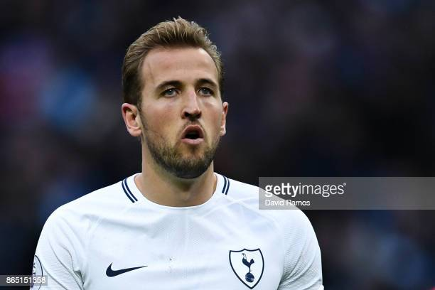 Harry Kane of Tottenham Hotspur looks on during the Premier League match between Tottenham Hotspur and Liverpool at Wembley Stadium on October 22...