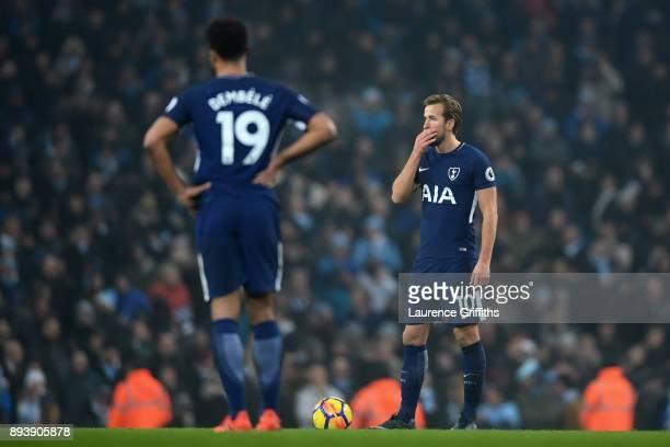 Harry Kane of Tottenham Hotspur looks on during the Premier League match between Manchester City and Tottenham Hotspur at Etihad Stadium on December...